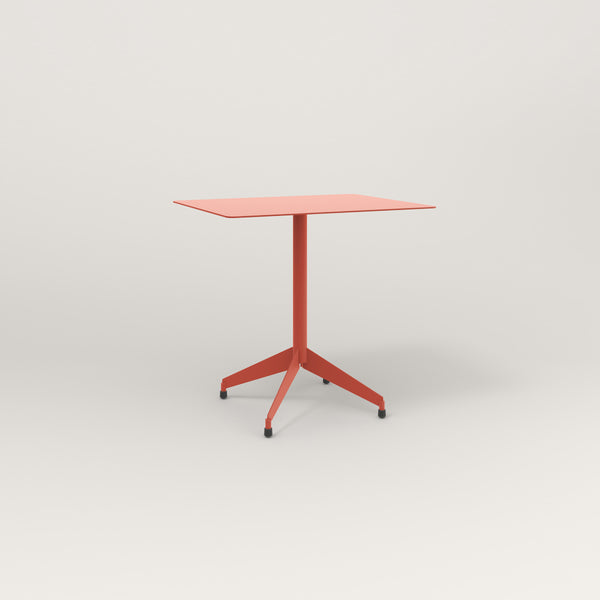 RAD Cafe Table, Rectangular Flat Four Point Base in aluminum and red powder coat.