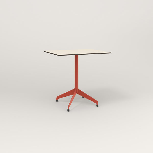 RAD Cafe Table, Rectangular Flat Four Point Base in hpl and red powder coat.