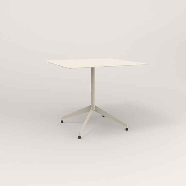 RAD Cafe Table, Rectangular Flat Four Point Base in aluminum and off-white powder coat.