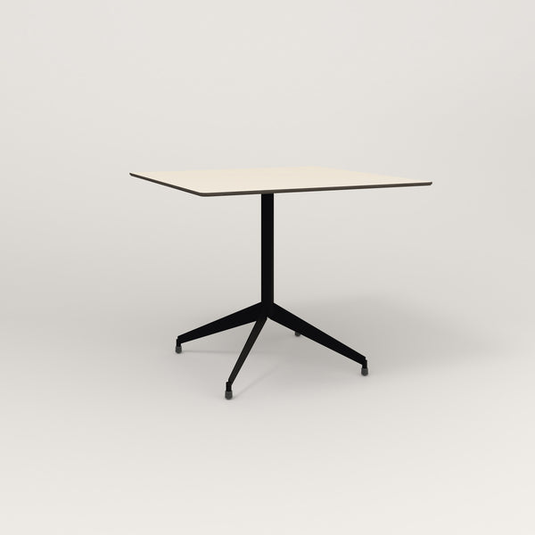 RAD Cafe Table, Rectangular Flat Four Point Base in hpl and black powder coat.