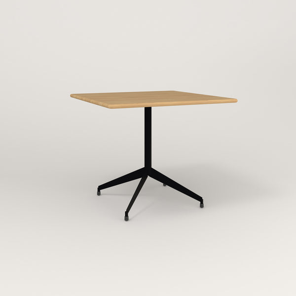 RAD Cafe Table, Rectangular Flat Four Point Base in solid white oak and black powder coat.