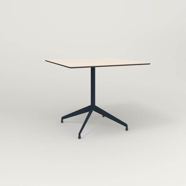 RAD Cafe Table, Rectangular Flat Four Point Base in hpl and navy powder coat.