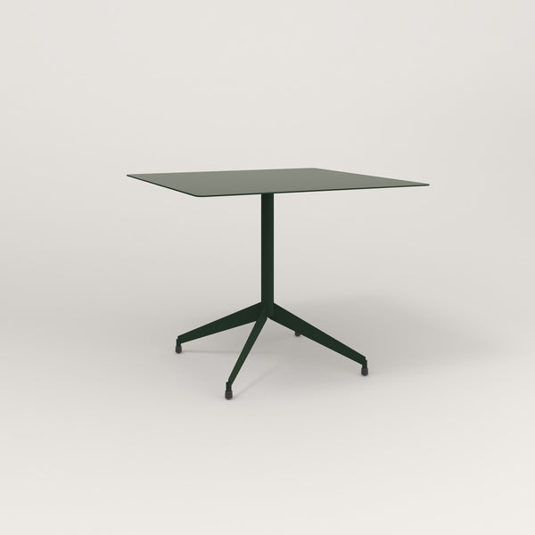 RAD Cafe Table, Rectangular Flat Four Point Base in aluminum and fir green powder coat.