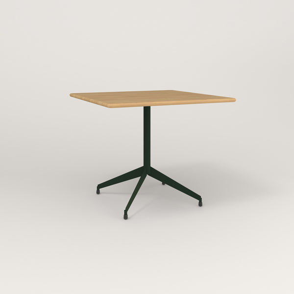 RAD Cafe Table, Rectangular Flat Four Point Base in solid white oak and fir green powder coat.