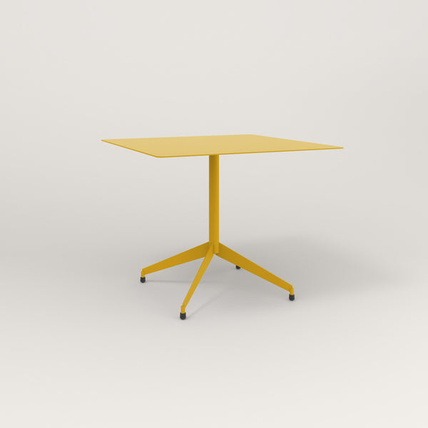 RAD Cafe Table, Rectangular Flat Four Point Base in aluminum and yellow powder coat.
