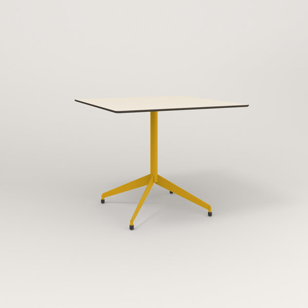RAD Cafe Table, Rectangular Flat Four Point Base in hpl and yellow powder coat.