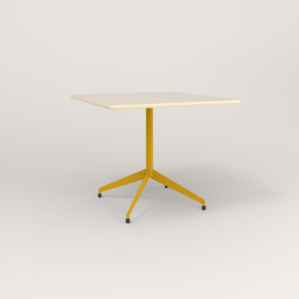 RAD Cafe Table, Rectangular Flat Four Point Base in solid ash and yellow powder coat.