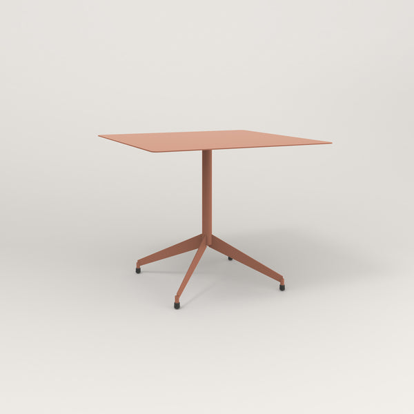RAD Cafe Table, Rectangular Flat Four Point Base in aluminum and coral powder coat.