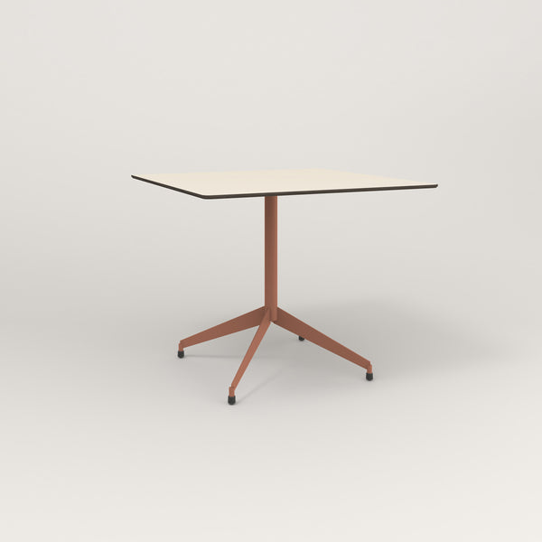 RAD Cafe Table, Rectangular Flat Four Point Base in hpl and coral powder coat.