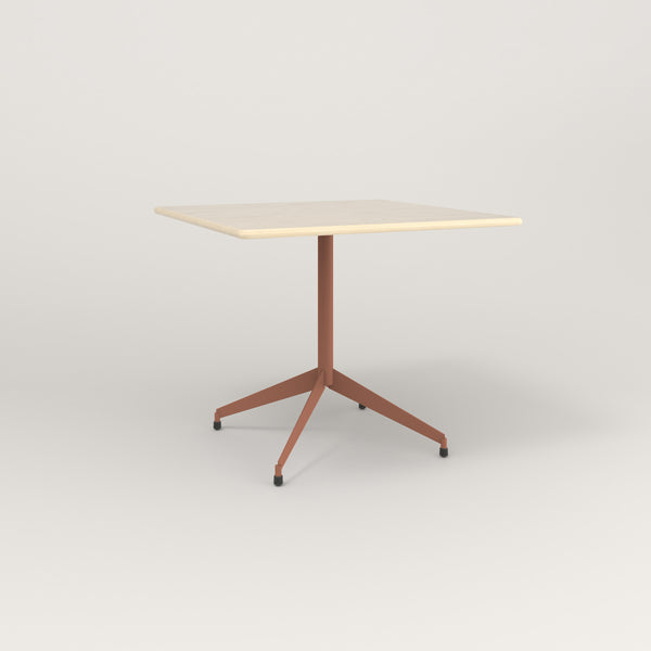 RAD Cafe Table, Rectangular Flat Four Point Base in solid ash and coral powder coat.