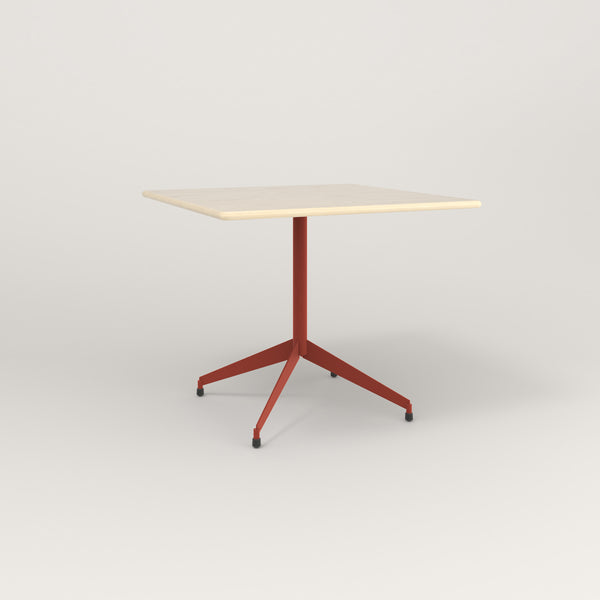 RAD Cafe Table, Rectangular Flat Four Point Base in solid ash and red powder coat.