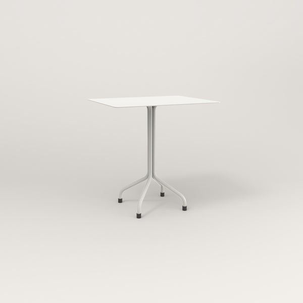 RAD Cafe Table, Rectangular Tube Four Point Base in aluminum and white powder coat.