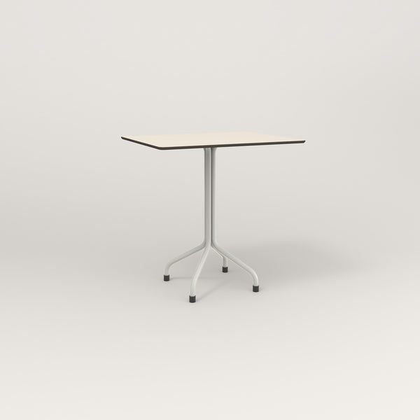 RAD Cafe Table, Rectangular Tube Four Point Base in hpl and white powder coat.