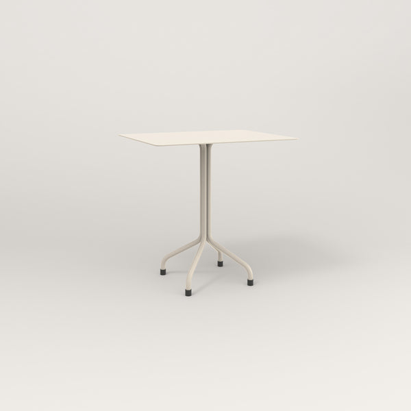 RAD Cafe Table, Rectangular Tube Four Point Base in aluminum and off-white powder coat.