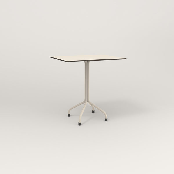 RAD Cafe Table, Rectangular Tube Four Point Base in hpl and off-white powder coat.