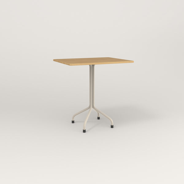RAD Cafe Table, Rectangular Tube Four Point Base in white oak europly and off-white powder coat.