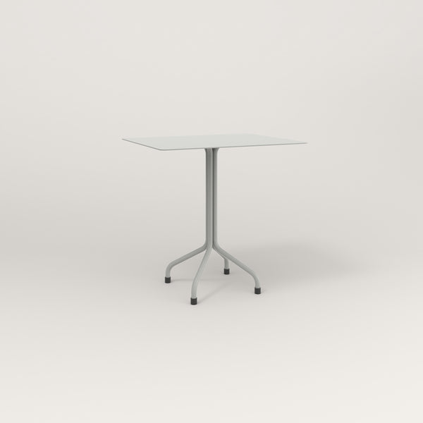 RAD Cafe Table, Rectangular Tube Four Point Base in aluminum and grey powder coat.