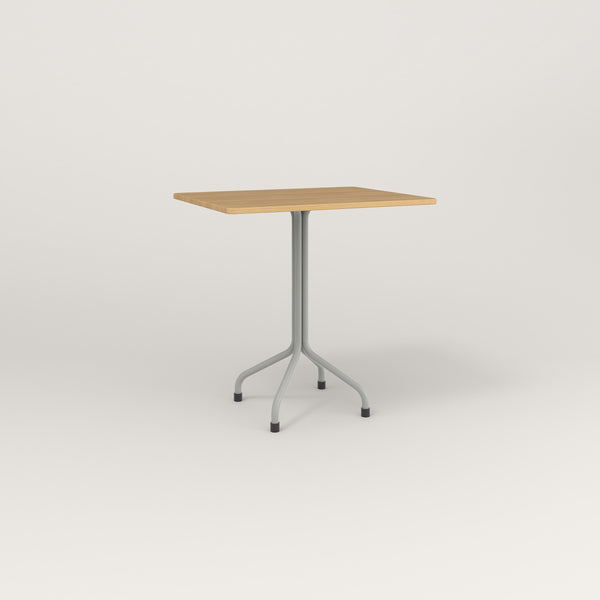 RAD Cafe Table, Rectangular Tube Four Point Base in white oak europly and grey powder coat.