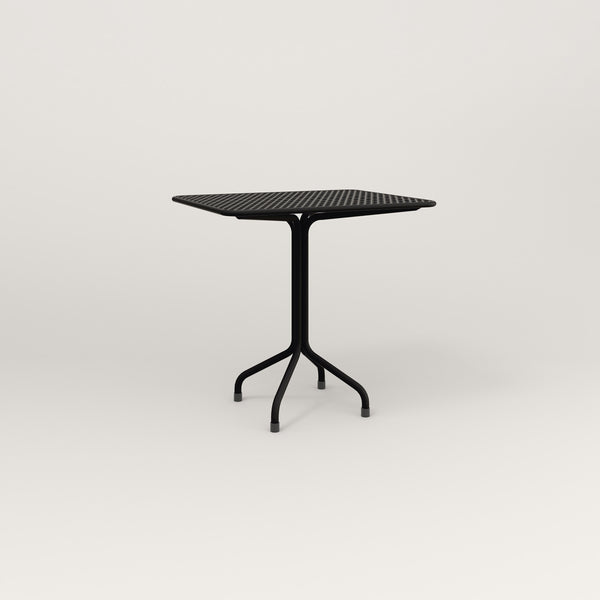 RAD Cafe Table, Rectangular Tube Four Point Base in perforated steel and black powder coat.