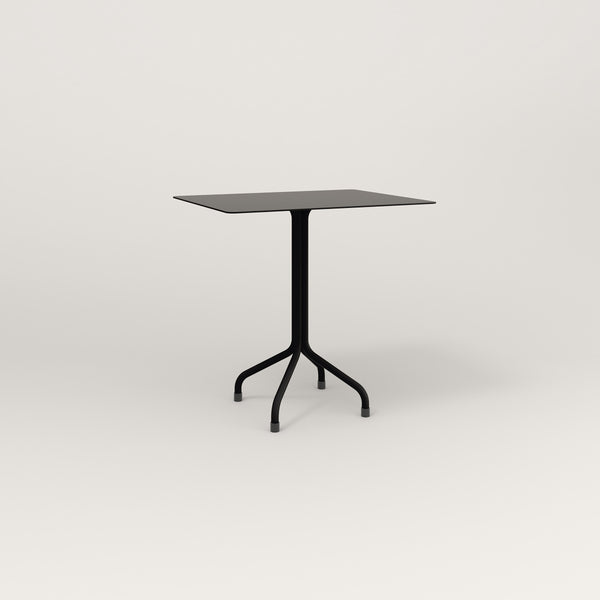 RAD Cafe Table, Rectangular Tube Four Point Base in aluminum and black powder coat.