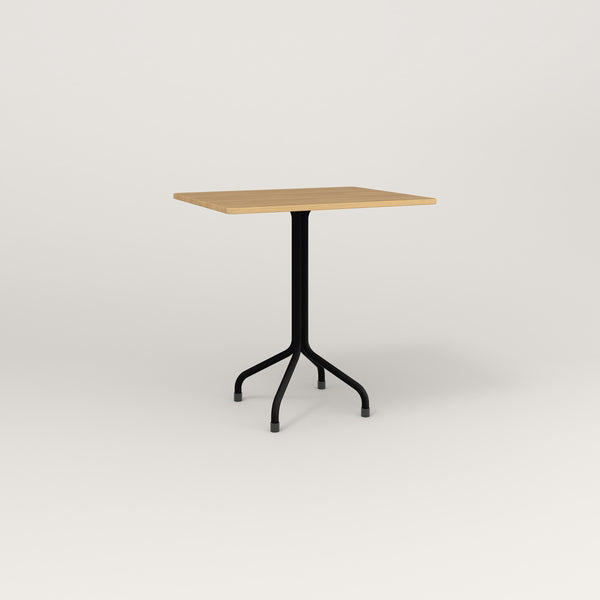 RAD Cafe Table, Rectangular Tube Four Point Base in white oak europly and black powder coat.