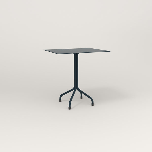 RAD Cafe Table, Rectangular Tube Four Point Base in aluminum and navy powder coat.