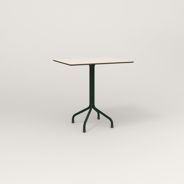 RAD Cafe Table, Rectangular Tube Four Point Base in hpl and fir green powder coat.