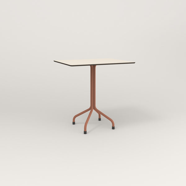 RAD Cafe Table, Rectangular Tube Four Point Base in hpl and coral powder coat.