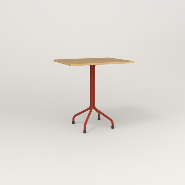 RAD Cafe Table, Rectangular Tube Four Point Base in white oak europly and red powder coat.