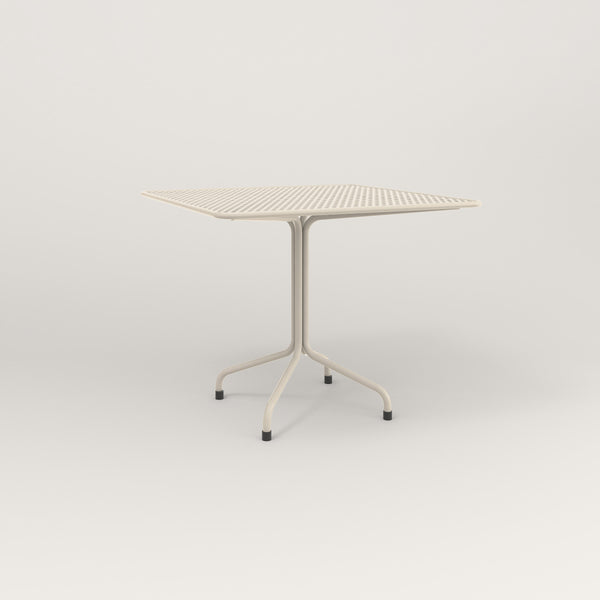 RAD Cafe Table, Rectangular Tube Four Point Base in perforated steel and off-white powder coat.