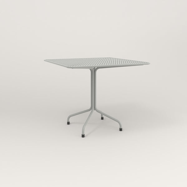 RAD Cafe Table, Rectangular Tube Four Point Base in perforated steel and grey powder coat.