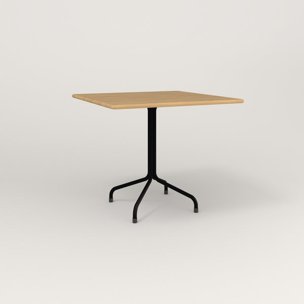 RAD Cafe Table, Rectangular Tube Four Point Base in solid white oak and black powder coat.