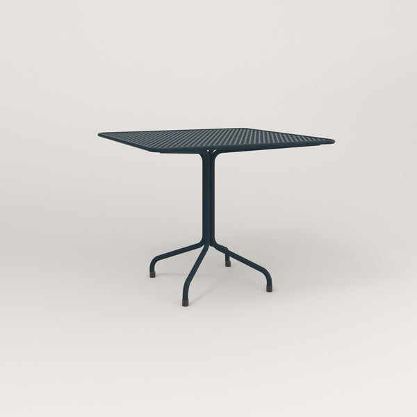 RAD Cafe Table, Rectangular Tube Four Point Base in perforated steel and navy powder coat.
