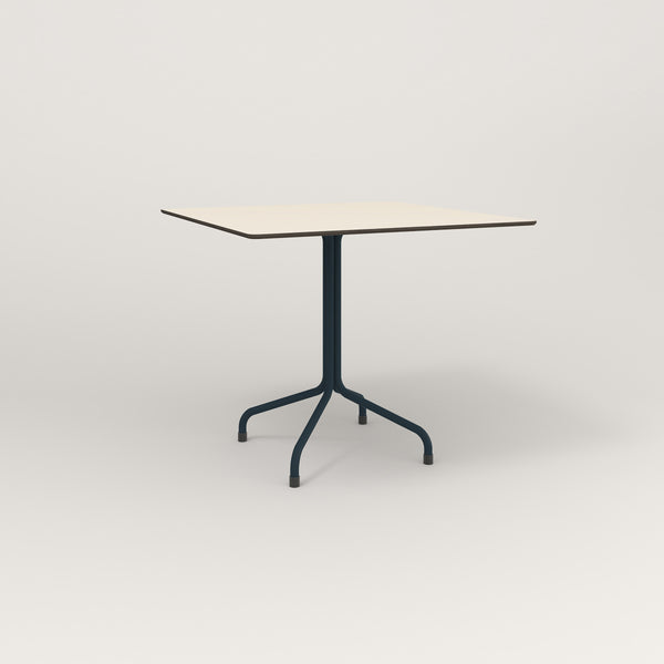 RAD Cafe Table, Rectangular Tube Four Point Base in hpl and navy powder coat.