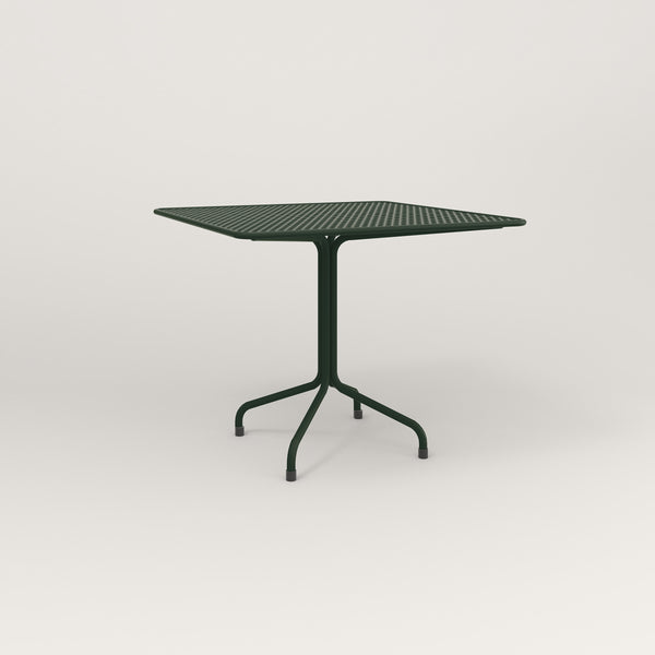 RAD Cafe Table, Rectangular Tube Four Point Base in perforated steel and fir green powder coat.