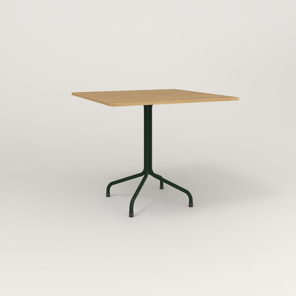 RAD Cafe Table, Rectangular Tube Four Point Base in white oak europly and fir green powder coat.