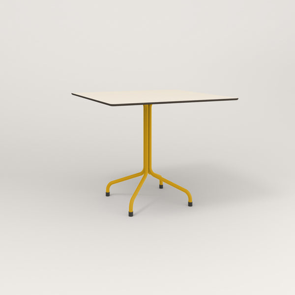 RAD Cafe Table, Rectangular Tube Four Point Base in hpl and yellow powder coat.