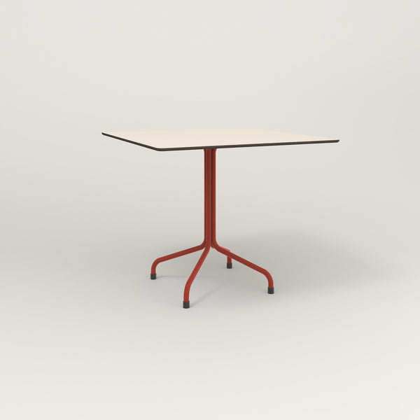 RAD Cafe Table, Rectangular Tube Four Point Base in hpl and red powder coat.