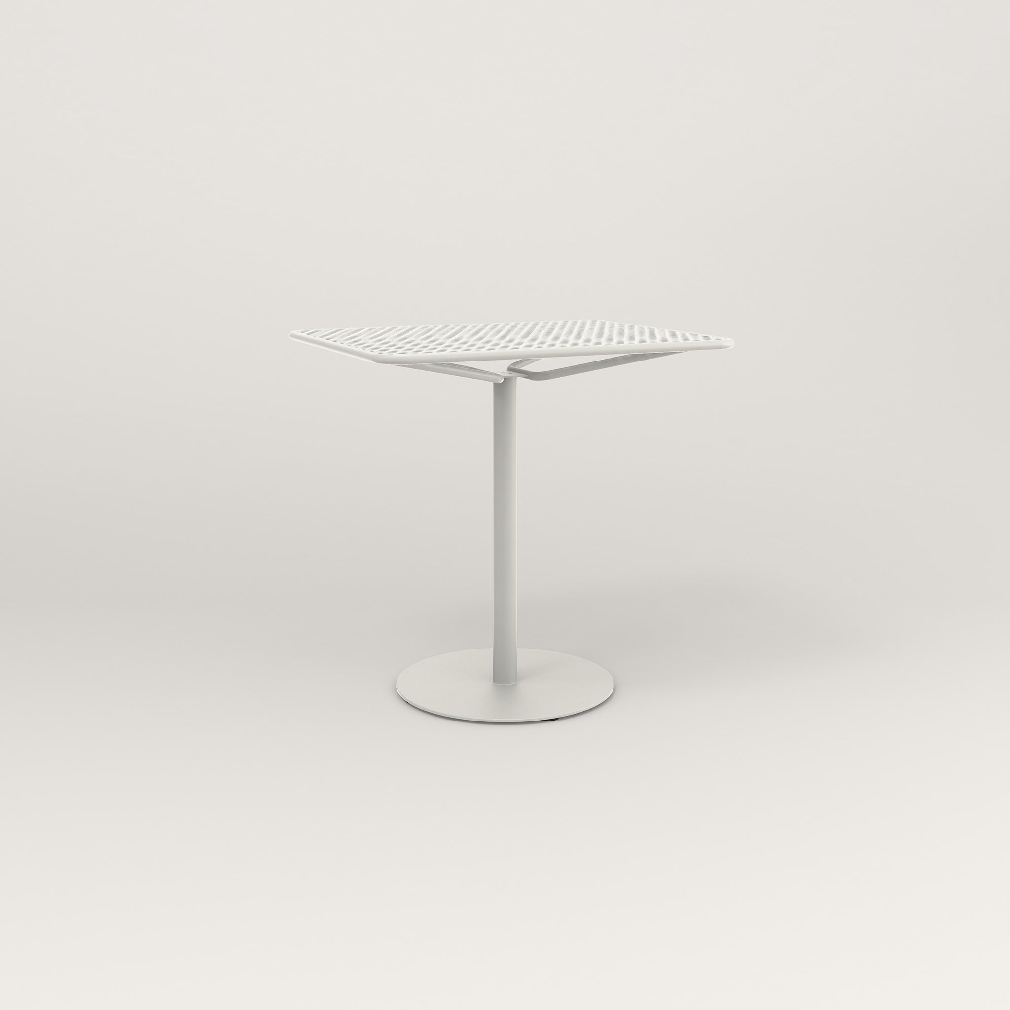 RAD Cafe Table, Rectangular Weighted Base in perforated steel and white powder coat.
