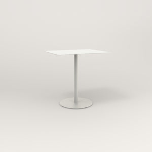 RAD Cafe Table, Rectangular Weighted Base in aluminum and white powder coat.