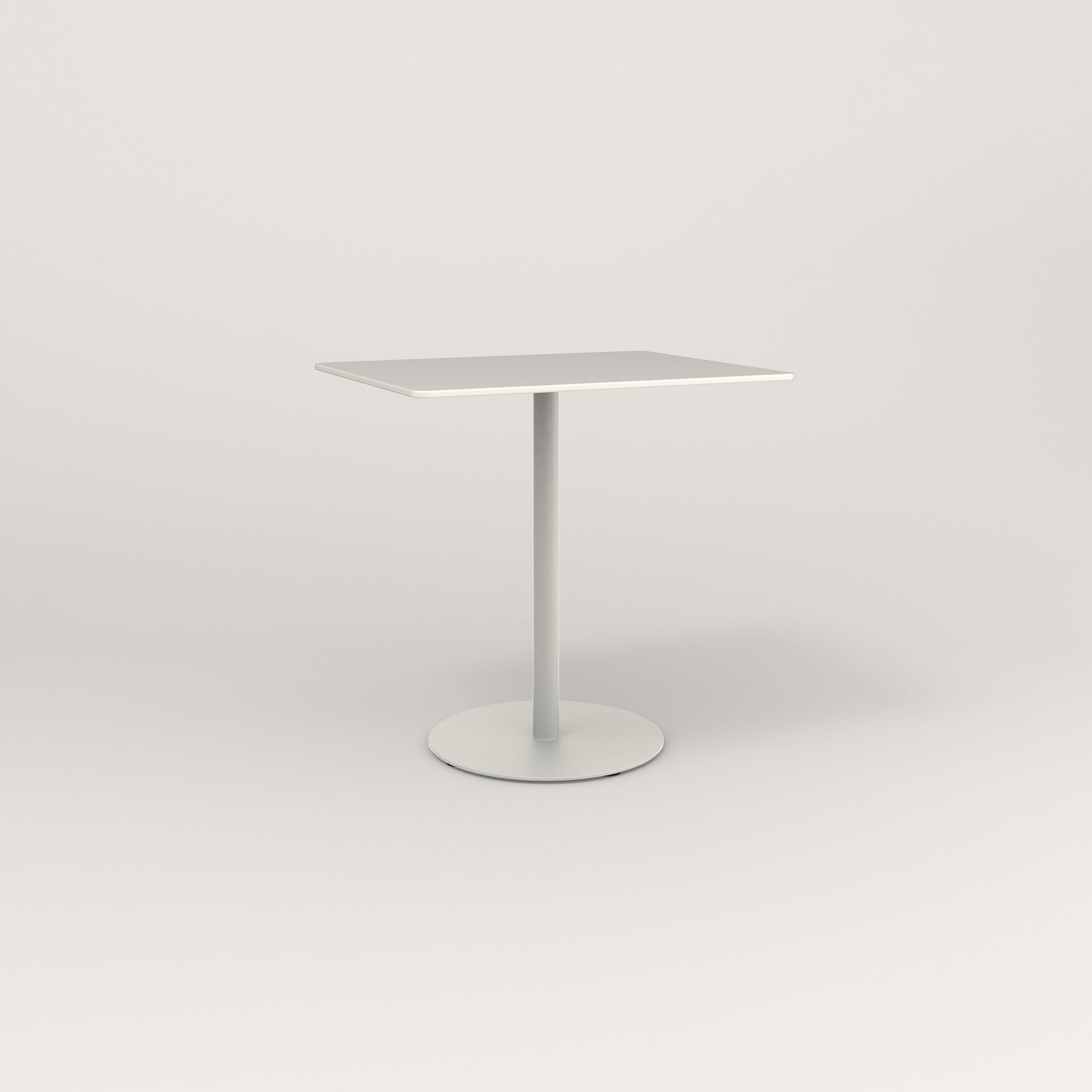 RAD Cafe Table, Rectangular Weighted Base in acrylic and white powder coat.