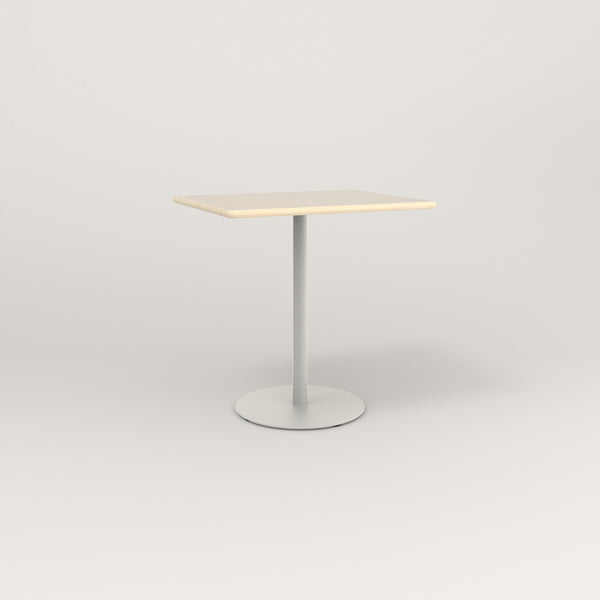 RAD Cafe Table, Rectangular Weighted Base in solid ash and white powder coat.