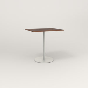 RAD Cafe Table, Rectangular Weighted Base in slatted wood and white powder coat.