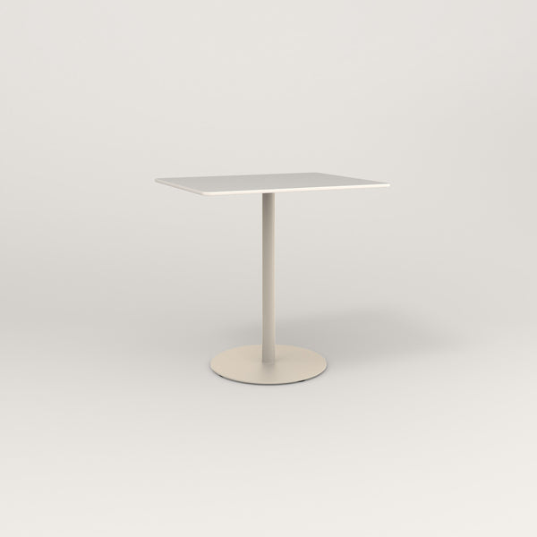 RAD Cafe Table, Rectangular Weighted Base in acrylic and off-white powder coat.