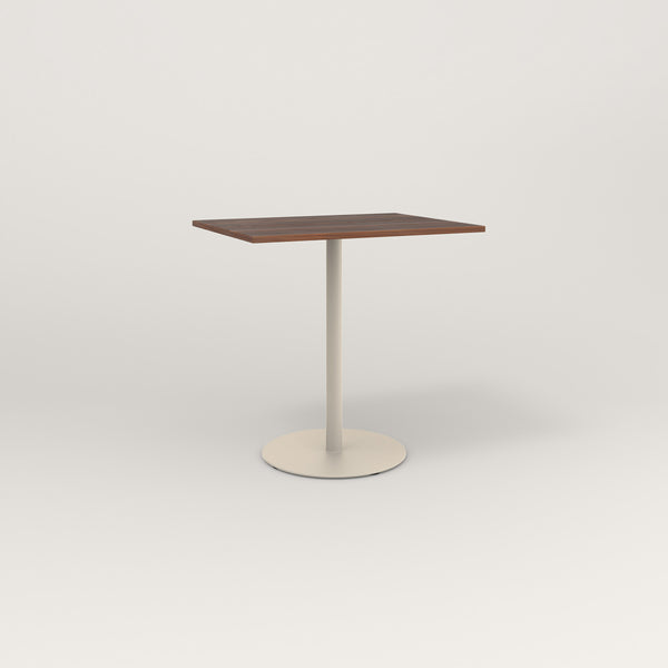 RAD Cafe Table, Rectangular Weighted Base in slatted wood and off-white powder coat.
