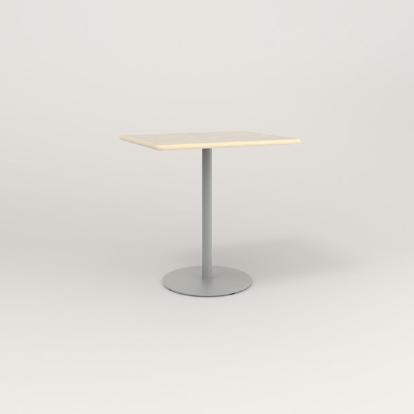 RAD Cafe Table, Rectangular Weighted Base in solid ash and grey powder coat.