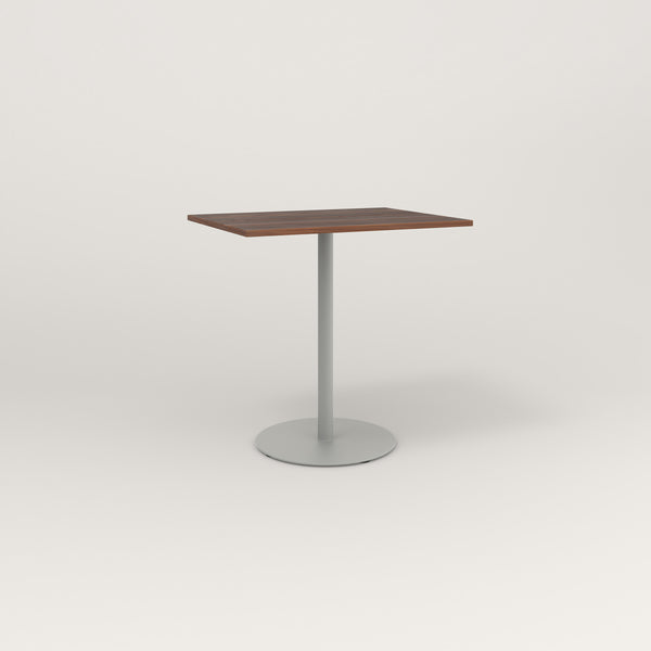 RAD Cafe Table, Rectangular Weighted Base in slatted wood and grey powder coat.