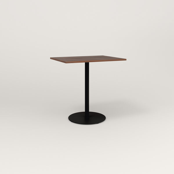 RAD Cafe Table, Rectangular Weighted Base in slatted wood and black powder coat.
