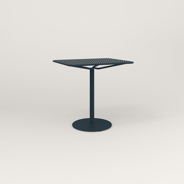 RAD Cafe Table, Rectangular Weighted Base in perforated steel and navy powder coat.