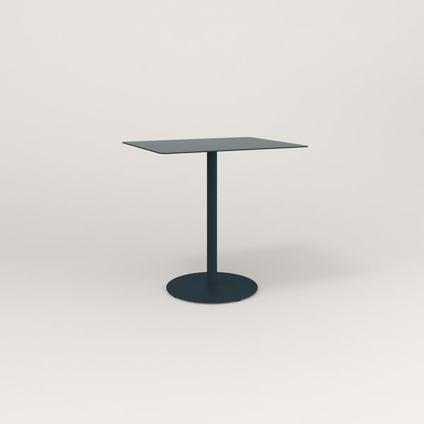 RAD Cafe Table, Rectangular Weighted Base in aluminum and navy powder coat.